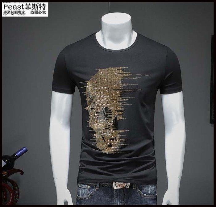 【Feast-菲斯特】-歐洲站白色夏季短袖T恤 男士莫代爾骷髏頭蝴蝶潮修身T恤 休閒半袖T246