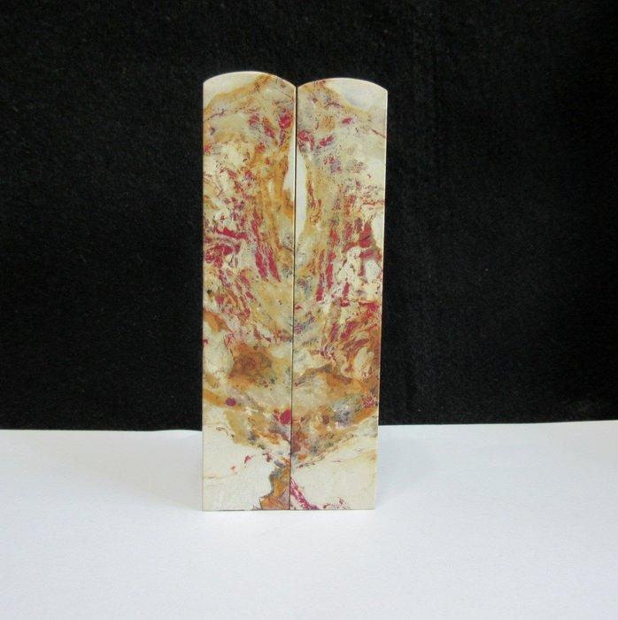 出賣家藏--昌化白玉軟地雞血石對章(大支、血多、特價、保真)