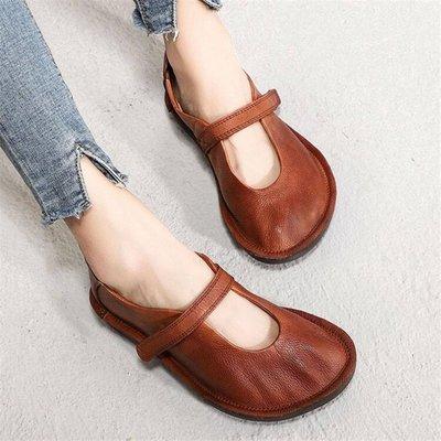 *菇涼家*真皮平底休閒鞋软皮女鞋舒適一字带女单鞋原創手工皮鞋