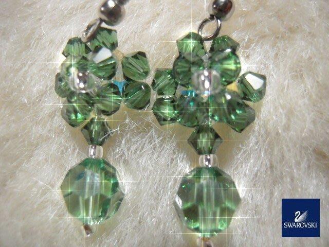 ※水晶玫瑰※ SWAROVSKI 地球珠水晶 耳勾式耳環(DD432)