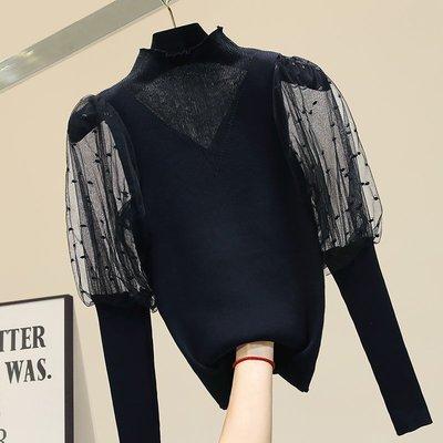 【An Ju Shop】韓國風 燈籠袖修身高領雪紡拼接針織衫打底衫內搭上衣~OI284019