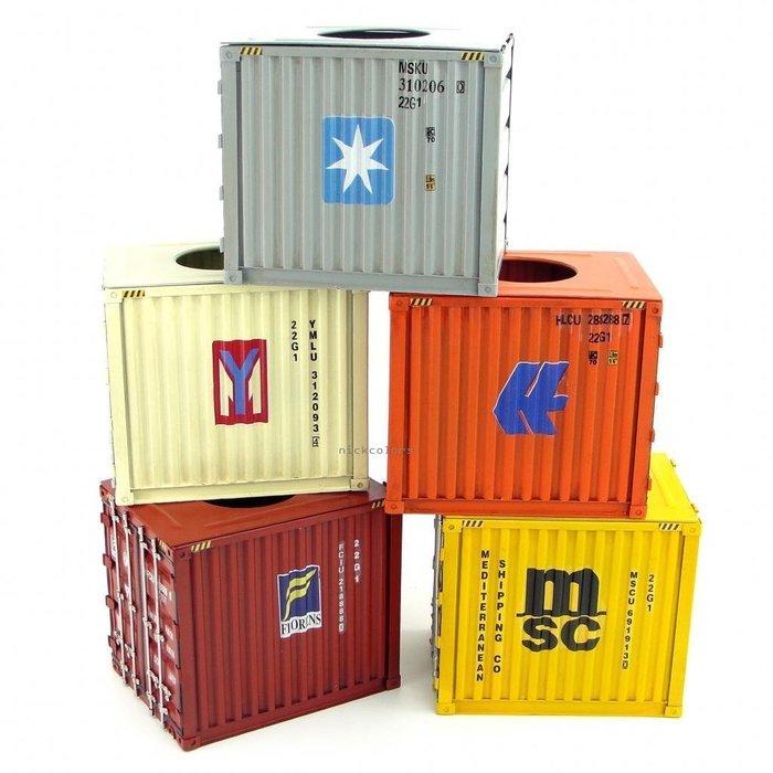 尼克卡樂斯~方形手工鋼板貨櫃面紙盒 工業風面紙盒 仿舊風格鐵製貨櫃紙巾盒 工業風擺飾 儲物盒 桌面擺飾餐廳服飾店擺設裝飾