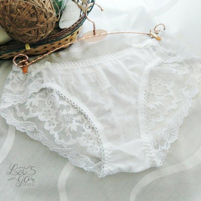 * 低腰內褲 *❉︵ 浪漫白紗蕾絲繡花網紗低腰內褲 ︵❉白紗蕾絲。Let's Go lulu's。AC80