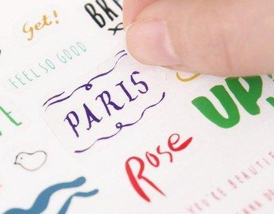 *YOOWOO*D【韓國正品空運 GMZ Petit Callygraphy 手寫字母 趣味訊息小巴黎 透明貼紙8入】
