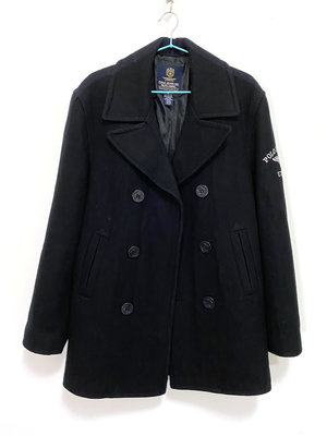 POLO JEANS 專櫃 黑色 羊毛 雙排釦 大衣