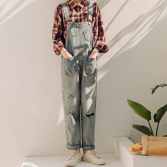SEYES  日系設計感休閒隨意破壞刷色美式牛仔吊帶褲