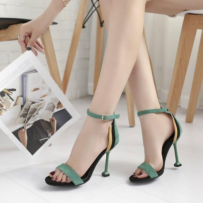高跟鞋夏季高跟涼鞋細跟性感露趾一字扣百搭拼色貓跟女鞋子 尚美優品