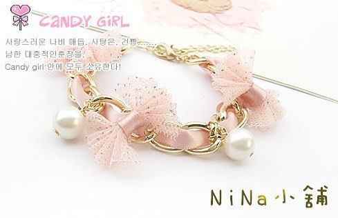 NiNa小舖【L071C9】韓國Candy Girl甜美蕾絲蝴蝶結珍珠鍍真金氣質手鍊(黑色/粉色)現貨-滿2件免運