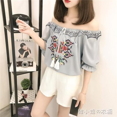 夏季新款韓版寬鬆一字領雪紡衫繫帶小衫燈籠袖露肩上衣女潮