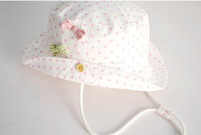 ≡ OnlyLingo ≡ 防紫外線二用寶寶漁夫帽-粉色點點 0-8Y 頭圍42-54cm