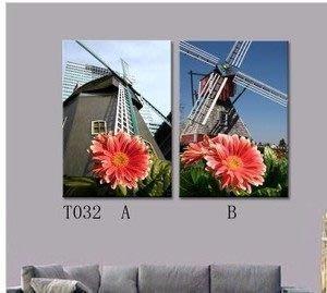 【優上精品】風車屋風情 客廳無框畫三聯畫臥室裝飾畫風景歐美現代簡約風景(Z-P3210)