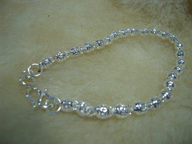 ※水晶玫瑰※ 990純銀鏤空圓球造型手鏈(RD125)