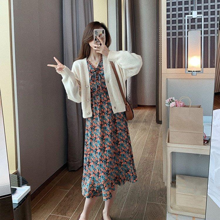 韓國法式孔雀藍綠花朵洋裝【aw20048】-MISS MISA