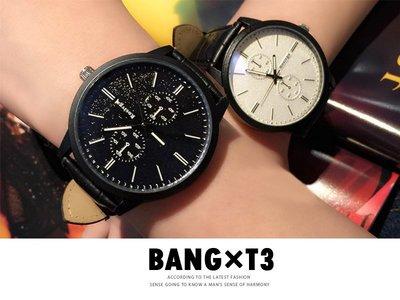 BANG T3◎時尚學生錶 兩色 情侶 對錶 藍光 大錶盤 皮革 合金 石英錶 生日禮物 男錶 女錶 簡約【H84】