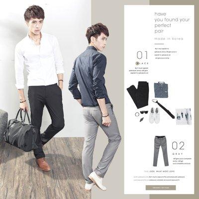 。SW。【K32126】正韓 韓國製 修身顯瘦 彈性佳 質感西裝布 窄版雅痞 黑灰 素面西裝褲 英倫雅痞