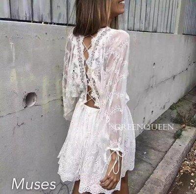 小魔女 獨家新款 時尚 歐美 蕾絲鏤空 性感交叉綁帶露背 收繩綁帶 真絲連身裙 比基尼罩衫 度假風連身洋