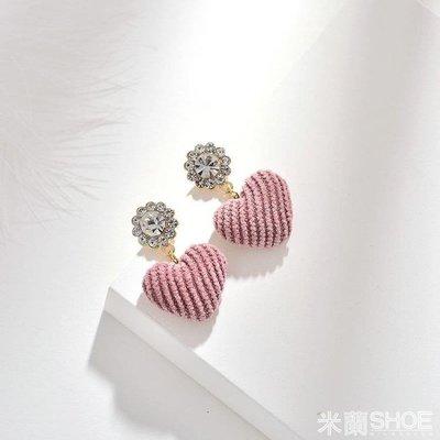 耳飾  耳環 日韓甜美清新少女心ins時尚鑲鉆人造水晶可愛粉色愛心形耳釘 全店免運