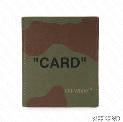 【WEEKEND】 OFF WHITE Quote Card 條紋 皮革 皮夾 短夾 卡夾 迷彩色 19春夏