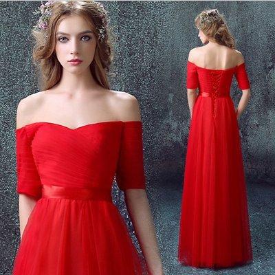 『折扣店』(692701)2017新款紅色短袖深v領新娘婚紗晚宴年會演出主持人長款禮服