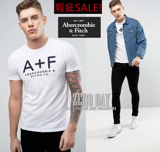 瑕疵特賣零時差美國A&F真品Abercrombie&Fitch Applique Logo Graphic Tee短T白