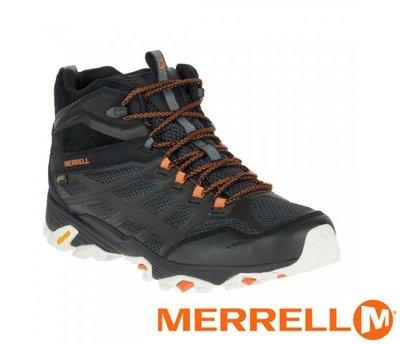 丹大戶外【MERRELL】MOAB FST MID GORE-TEX 中筒健行鞋 黑/橘 37065