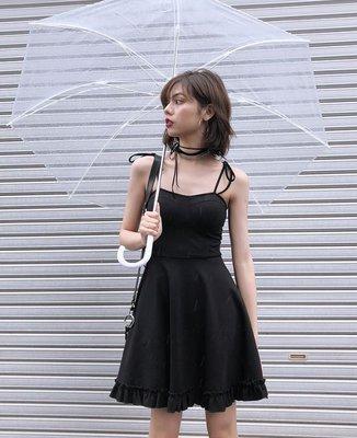 【黑店】原創設計 復古荷葉邊綁帶細肩帶洋裝 性感小黑裙 百搭質感綁帶小黑裙 暗黑系穿搭 公主洋裝SG150