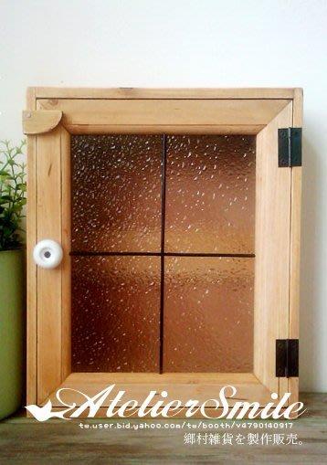 [ Atelier Smile ] 鄉村雜貨  原木製 花玻璃 壁掛 鑰匙盒 收納架  (現+預)