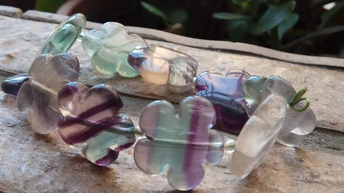 天然冰透綠紫水晶彩色螢石花朵造型單圈手鍊手排手牌手串手環手珠20mm/36.7g珠寶玉石寶石首飾飾品專櫃精品