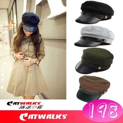 台灣現貨  * Catwalks 搖滾の貓 * 個性款平頂時尚皮革短鴨舌造型軍帽 ( 黑色、淺灰、軍綠、咖啡 )