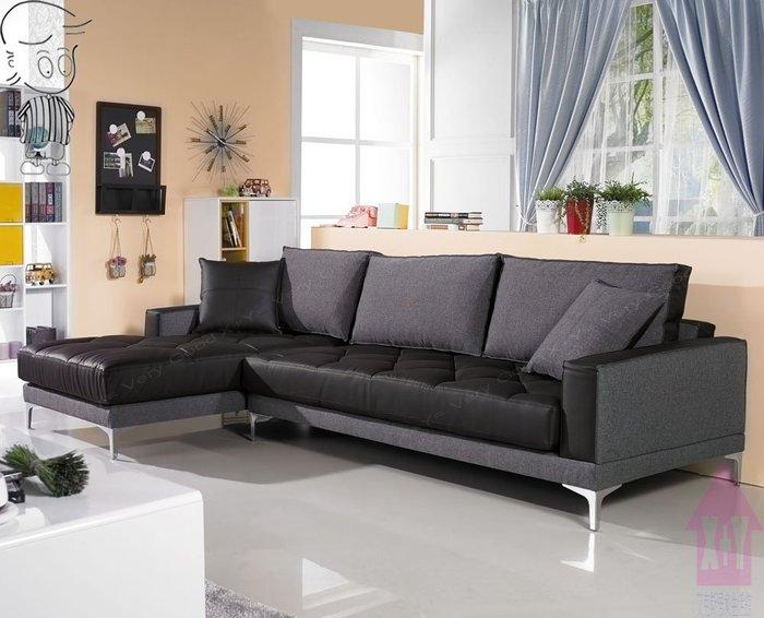 【X+Y時尚精品傢俱】現代沙發系列-低調時尚 L型布沙發.皮坐墊.摩登家具