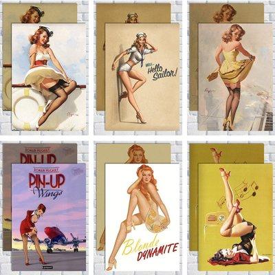 免運/最小尺寸任選5張唷唷pin up 女郎 性感招貼畫二戰海報 歐美復古懷舊酒吧咖啡廳裝飾畫