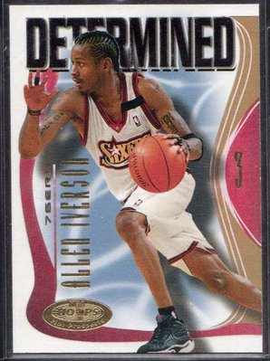 00-01 FLEER NBA HOOPS PROSPECTS DETERMINED #7 ALLEN IVERSON