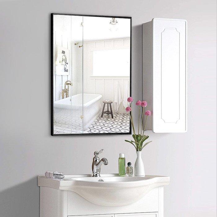 化妝鏡 LED鏡 折疊鏡 梳妝鏡 復古鏡衛生間鏡子鋁合金帶框浴室鏡簡約現代貼墻壁掛式廁所洗手間化妝鏡