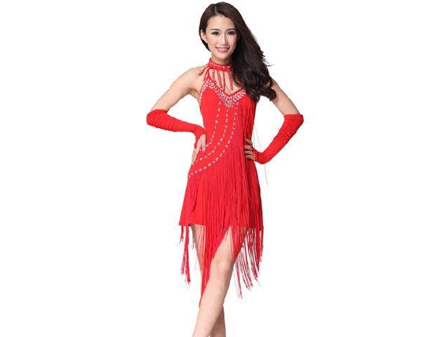 5Cgo 【鴿樓】會員有優惠 20526155907 拉丁舞專業表演服 拉丁舞衣 舞裙 舞蹈服 舞裙+脖鏈+兩件手袖