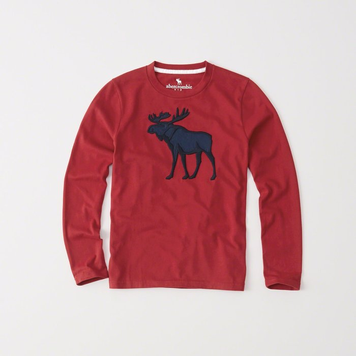 【abercrombie kids】【a&f】【零碼S】af男童款長袖T恤繡超大黑藍鹿紅 F01161125-12