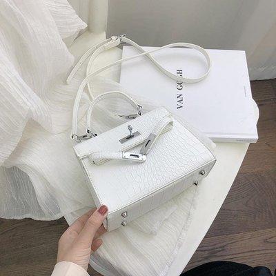 可開發票 斜跨包夏天包包女包新款2019時尚手提凱莉包鱷魚紋單肩斜挎包高級感洋氣
