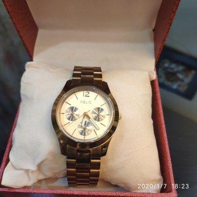 【保證真品&超低價】美國RELIC(Fossil) 女性 玫瑰金 3眼功能 不鏽鋼鋼時尚大錶 超值真品 37mm