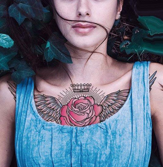 【萌古屋】玫瑰翅膀胸部胸下手臂大圖 - 男女防水紋身貼紙原宿刺青貼紙BC-209 K72