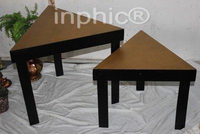 INPHIC-歐式風格家居飾品 仿舊工藝家居 木質金色凳子 三角凳2件套