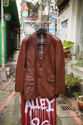 [ Satisfaction ] Burberry經典茶色質感羊皮西裝式皮衣