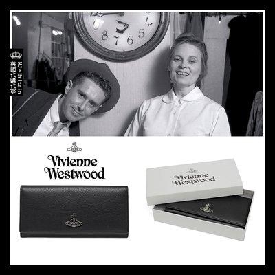 ♔MissyJ英國代購♥ Vivienne Westwood 英倫土星龐克品牌經典黑色柔軟霧面荔紋全牛皮革真皮夾女用長夾