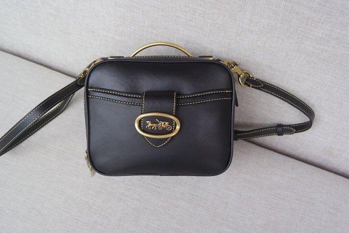 美國名品折扣店~ 特賣 COACH 93846 Riley22 真皮小方包 盒子包手提包 雙拉鏈單肩斜挎包 女包