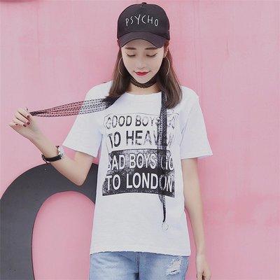 =EZZ=韓國首爾 時尚精品 東大門同步 早班車7199 字母印花 鐵環破洞 蕾丝吊飾白色短袖T恤