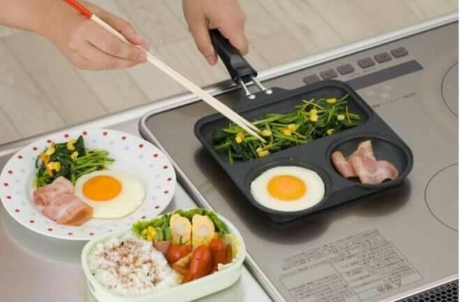【小糖雜貨舖】日本 杉山 金属 三格 平底 青蛙 煎鍋 平底鍋 燒烤鍋 萬用鍋 單柄鍋 KS-2759