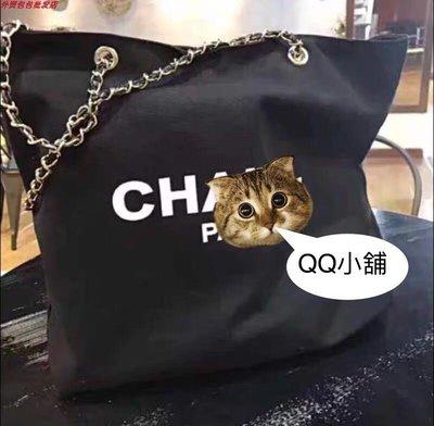 ~QQ小舖~金色鏈條網紗 帆布大容量肩背包 托特包 外出包 購物袋 現貨