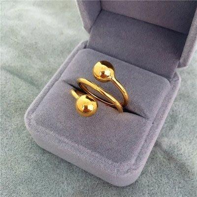 999鍍24k黃金色光面磨砂轉運珠戒指不掉色仿越南沙金指環12YZ9