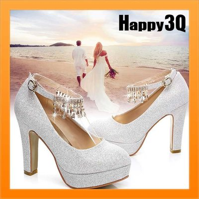高貴氣質新娘浪漫婚紗禮服伴娘亮片水鑽流蘇大尺碼婚鞋粗跟高跟鞋-8公分/5公分34-41【AAA0994】預購