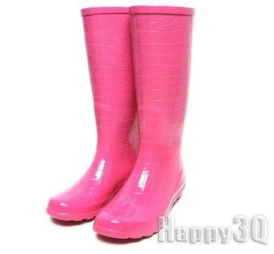 鱷魚紋橡膠防滑圓頭高筒雨靴-桃紅36-41【AAA0018】