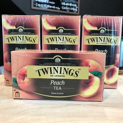 *卡拉拉咖啡精品*英國 TWININGS 唐寧茶 香甜蜜桃茶 ( 2g×25入 )