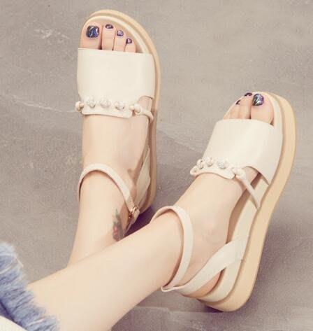 M-傲麥鬆糕厚底涼鞋女學生夏2018新款百搭韓版露趾水鑽仙女鞋子中跟